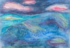 Το αφηρημένο ύφος χρωμάτισε λαμπρά το σκίτσο της θάλασσας και του ουρανού Στοκ Εικόνα