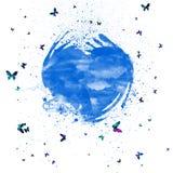 Το αφηρημένο watercolor καταβρέχει την μπλε καρδιά Καρδιά με τις ζωηρόχρωμες πεταλούδες στοκ εικόνα