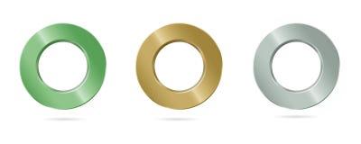 Το δαχτυλίδι μετάλλων με μια ομαλή ερμηνεία τελειώνει Στοκ Εικόνες