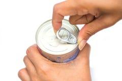 Το δαχτυλίδι μπορεί στα επικασσιτερωμένα τρόφιμα Στοκ Εικόνες