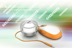 το αλλαγμένο ποντίκι χρημάτων σχεδίου έννοιας υπολογιστών ήταν on-line Στοκ Εικόνες