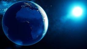 Το αλλοδαπό διαστημικό σκάφος πετά μετά από τη γη διανυσματική απεικόνιση