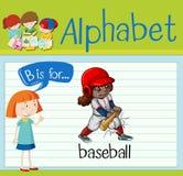 Το αλφάβητο Β Flashcard είναι για το μπέιζ-μπώλ διανυσματική απεικόνιση