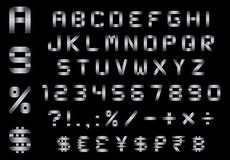 Το αλφάβητο, οι αριθμοί, το νόμισμα και τα σύμβολα συσκευάζουν - ορθογώνια καμμμένη πηγή μετάλλων απεικόνιση αποθεμάτων