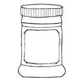 Το βάζο για τη σάλτσα, μαρμελάδα, ζελατίνα, μαρμελάδα, συντηρεί, φυστικοβούτυρο με την κενή ετικέτα Στοκ Φωτογραφία