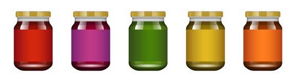 Το βάζο γυαλιού με τη μαρμελάδα και διαμορφώνει επίσης corel σύρετε το διάνυσμα απεικόνισης Συλλογή συσκευασίας Ετικέτα για τη μα απεικόνιση αποθεμάτων