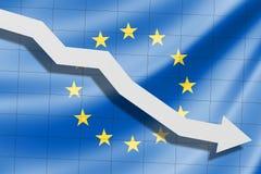 Το βέλος αφορά το υπόβαθρο του Ε. - ευρωπαϊκή σημαία στοκ εικόνες