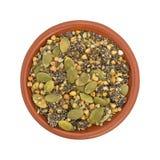 Το βακκίνιο Chia και δημητριακά προγευμάτων σπόρων κολοκύθας στο κύπελλο αργίλου Στοκ Εικόνες