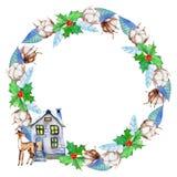 Το βαμβάκι Watercolor ανθίζει, δέντρο ελαιόπρινου, ελάφια και homely στεφάνι χειμερινών Χριστουγέννων σπιτιών ελεύθερη απεικόνιση δικαιώματος