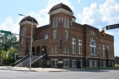 το βαπτιστικό Μπέρμιγχαμ 16$ου το 1963 ιστορικό γνωστό ορόσημο εκκλησιών της Αλαμπάμα βομβαρδίζοντας παρακίνησε το εθνικό τώρα ra Στοκ Φωτογραφία