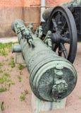 Το βαρέλι πυροβόλων όπλων χαλκού το λιοντάρι της Ρήγας πετάχτηκε το 1687 Στοκ εικόνα με δικαίωμα ελεύθερης χρήσης