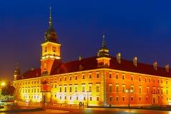 Το βασιλικό Castle τη νύχτα στη Βαρσοβία, Πολωνία Στοκ εικόνα με δικαίωμα ελεύθερης χρήσης