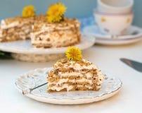 Το βαλμένο σε στρώσεις κέικ μελιού με αποβουτυρώνει chantilly στοκ φωτογραφία με δικαίωμα ελεύθερης χρήσης