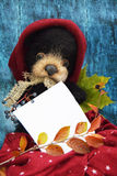 Το βελούδο teddy αντέχει με ένα φύλλο να γράψει το κείμενο σε ένα θερμό burgundy καπέλο μεταξύ των φύλλων φθινοπώρου σε ένα μπλε  Στοκ Φωτογραφίες