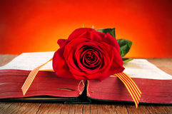 Το βιβλίο, κόκκινο αυξήθηκε και η καταλανική σημαία για Sant Jordi, Άγιος George στοκ εικόνες