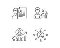 Το βιογραφικό σημείωμα, επιχειρησιακή δικτύωση και παίρνει τα εικονίδια μιας εργασίας διανυσματική απεικόνιση