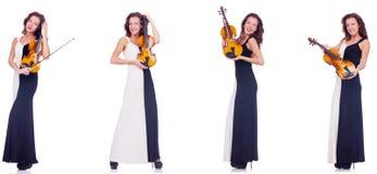 Το βιολί παιχνιδιού γυναικών που απομονώνεται στο άσπρο υπόβαθρο Στοκ φωτογραφία με δικαίωμα ελεύθερης χρήσης