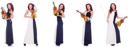 Το βιολί παιχνιδιού γυναικών που απομονώνεται στο άσπρο υπόβαθρο Στοκ Φωτογραφία