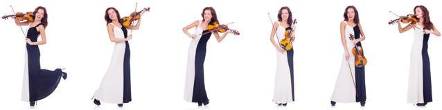 Το βιολί παιχνιδιού γυναικών που απομονώνεται στο άσπρο υπόβαθρο Στοκ Φωτογραφίες