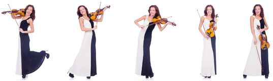 Το βιολί παιχνιδιού γυναικών που απομονώνεται στο άσπρο υπόβαθρο Στοκ φωτογραφίες με δικαίωμα ελεύθερης χρήσης