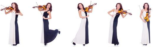 Το βιολί παιχνιδιού γυναικών που απομονώνεται στο άσπρο υπόβαθρο Στοκ Εικόνες