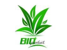 Το βιο προϊόν, υπόβαθρο με πράσινο βγάζει φύλλα Στοκ εικόνες με δικαίωμα ελεύθερης χρήσης