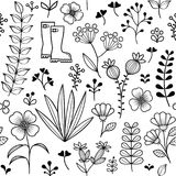 Το βοτανικό άνευ ραφής σχέδιο, συρμένα χέρι άγρια λουλούδια και χορτάρια σχεδιάζει, ταπετσαρία απεικόνιση αποθεμάτων