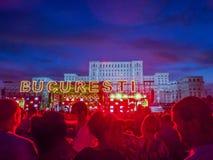 Το Βουκουρέστι γιορτάζει τη 557 επέτειο, συναυλία από το τετράγωνο συνταγμάτων Στοκ εικόνες με δικαίωμα ελεύθερης χρήσης
