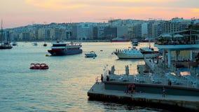 Το βράδυ σε Sliema, Μάλτα απόθεμα βίντεο