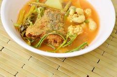Το βρασμένο μικτό φυτικό κάλυμμα τηγάνισε τα ψάρια και το αυγό στην ταϊλανδική πικάντικη σούπα στο κύπελλο Στοκ Φωτογραφία