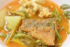 Το βρασμένο μικτό φυτικό κάλυμμα τηγάνισε τα ψάρια και το αυγό στην ταϊλανδική πικάντικη σούπα στο κύπελλο Στοκ Εικόνες
