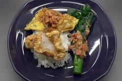 Το βρασμένο ρύζι με τις γαρίδες κολλά τη σάλτσα τσίλι με το πράσινο φυτικό και τριζάτο χοιρινό κρέας στοκ εικόνες