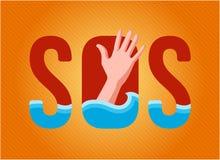 Το βυθίζοντας πρόσωπο ζητά τη βοήθεια εγγραμμένος στο SOS σημαδιών σε ένα πορτοκαλί υπόβαθρο το χέρι διανυσματική απεικόνιση