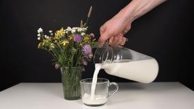 Το γάλα χύνεται σε μια κούπα απόθεμα βίντεο