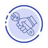 Το γαλλικό κλειδί, επισκευή, αποτύπωση, εργαλεία, δίνει το μπλε εικονίδιο γραμμών διαστιγμένων γραμμών διανυσματική απεικόνιση
