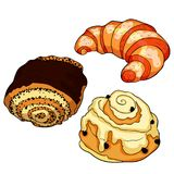 Το γαλλικό croissant γλυκό κουλουριών επίσης corel σύρετε το διάνυσμα απεικόνισης Στοκ Φωτογραφία