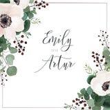 Το γαμήλιο διάνυσμα προσκαλεί την κάρτα, πρόσκληση, εκτός από την ημερομηνία, χαιρετισμός floral απεικόνιση σχεδίου καρτών ανασκό διανυσματική απεικόνιση