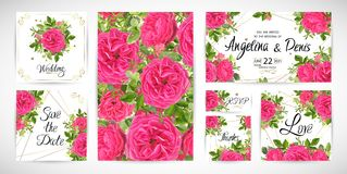 Το γαμήλιο floral πρότυπο προσκαλεί επίσης corel σύρετε το διάνυσμα απεικόνισης Στοκ Εικόνα