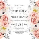 Το γαμήλιο floral watercolor προσκαλεί, πρόσκληση, εκτός από την κάρτα ημερομηνίας απεικόνιση αποθεμάτων