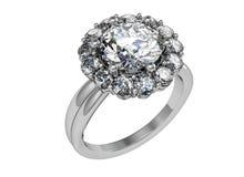 Το γαμήλιο δαχτυλίδι ομορφιάς στο άσπρο υπόβαθρο Στοκ εικόνα με δικαίωμα ελεύθερης χρήσης