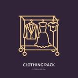 Το γαμήλιο φόρεμα, άτομα ταιριάζει, ενδύματα παιδιών στο εικονίδιο κρεμαστρών, που ντύνει το λογότυπο γραμμών ραφιών Επίπεδο σημά απεικόνιση αποθεμάτων