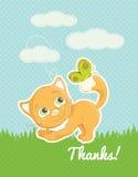 Το γατάκι συνθήματος σας ευχαριστεί τυποποιημένη κάρτα Στοκ φωτογραφία με δικαίωμα ελεύθερης χρήσης