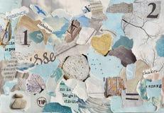 Το γαλήνιο φύλλο κολάζ πινάκων διάθεσης τέχνης ατμόσφαιρας zen δημιουργικό στο μπλε aqua χρωμάτων, μέντα πράσινη, γκρίζο, λευκό φ Στοκ φωτογραφία με δικαίωμα ελεύθερης χρήσης