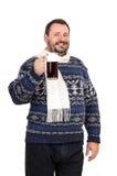 Το γενειοφόρο άτομο σας προσκαλεί στο μπαρ Στοκ Εικόνες