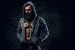 Το γενειοφόρο αρσενικό με τη δερματοστιξία σε ένα στήθος, έντυσε σε ένα γκρίζο hoodie Στοκ Φωτογραφίες