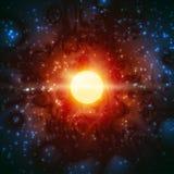 Το γεννημένο φως αστεριών λάμπει διαστημικός κόσμος καψίματος φανταστικός απεικόνιση αποθεμάτων