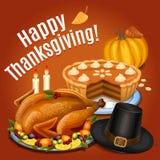 Το γεύμα ημέρας των ευχαριστιών, ψητό Τουρκία στη πιατέλα με διακοσμεί Στοκ Εικόνες