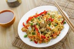 Το γεύμα νουντλς ρυζιού, γεμίζει Ταϊλανδό στοκ φωτογραφία