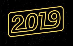 το 2019 για τα εποχιακές φυλλάδια και τις ευχετήριες κάρτες σας ή τα Χριστούγεννα οι προσκλήσεις Στοκ Εικόνα