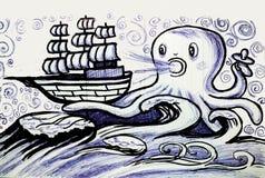 Το γιγαντιαίο χταπόδι πιάνει την παλαιά συρμένη χέρι απεικόνιση σκαφών πανιών ύφους στοκ φωτογραφία